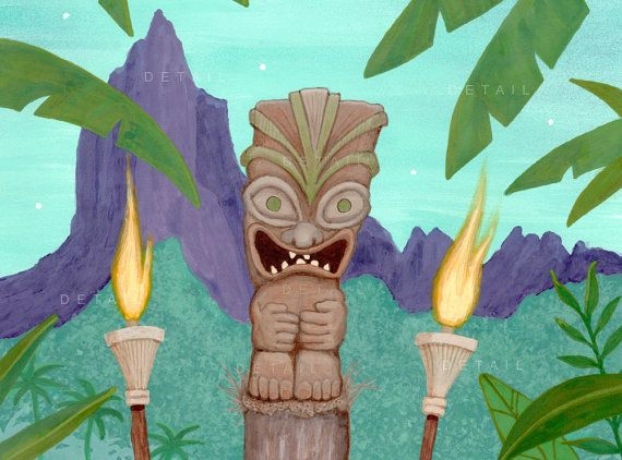 Retro Tropical Tiki Torch Print midcentury modern by BobHoliday