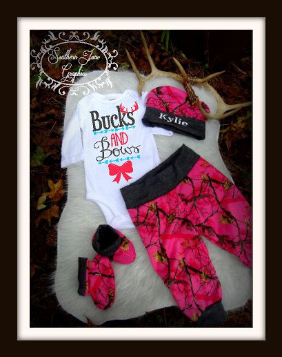 """Baby Girls Pink Camo Coming Home Outfit Set Bodysuit / Pants Realtree Camouflage With Booties And Hat"""" Bucks AND Bows """" Arrows Antlers Bow by SouthernJaneGraphics on Etsy"""