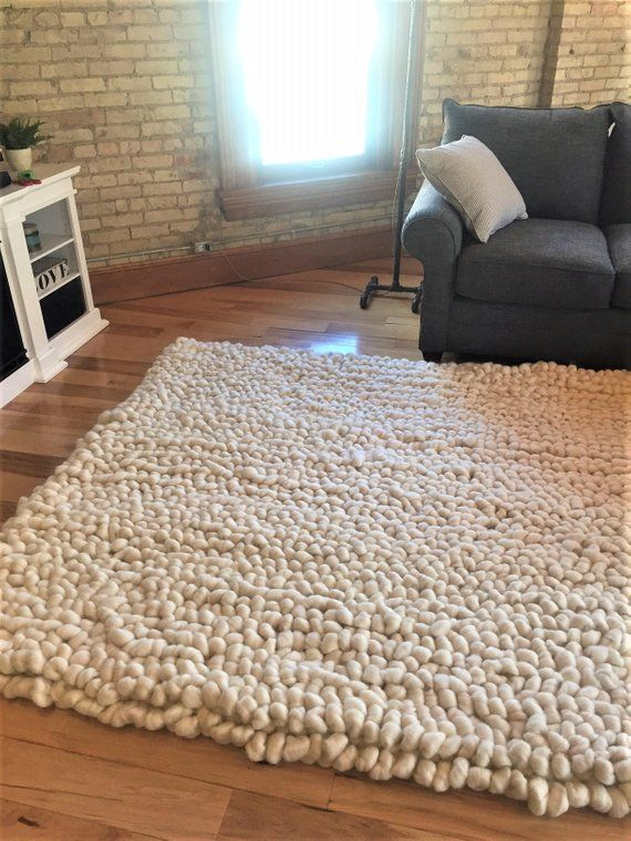 Rug Carpet Vegan Wool Rug Chunky Knit Area Rug Carpet