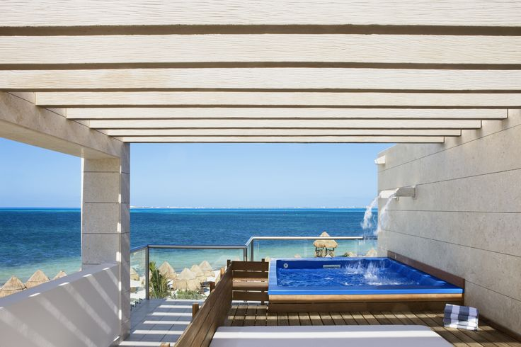 The Beloved Hotel Beachfront Casita Suite with Plunge Pool:Luxurious two-story Beachfront Casita Suite, featuring private terrace with plunge pool, shower and lounge bed. #CheapCaribbean