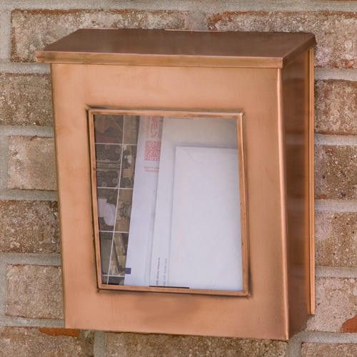Vertical Wall Mount Copper Mailbox With Viewing Panel   Antique Copper
