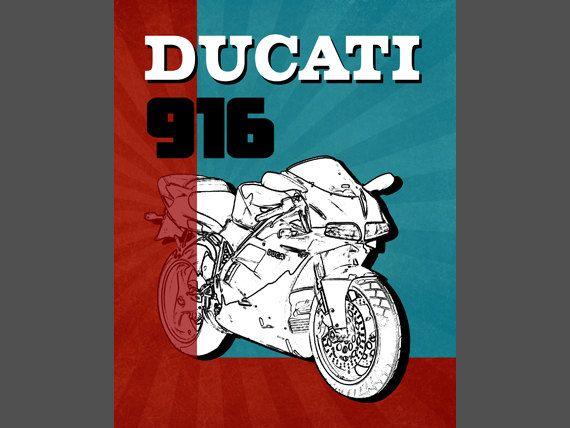 Ducati 916 Motorrad-Kunst Garage Kunst von SimplyDigitalArt auf Etsy