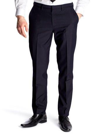 Navy Slim Fit Formal Trousers - 36W Reg Leg