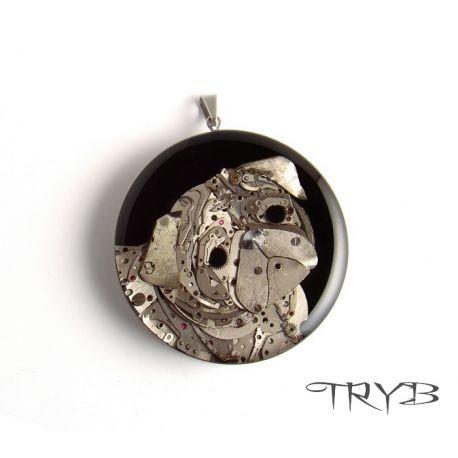 Pug dog portrait handmade of watch parts pendant. #handmade #clockwork #pug #dog #animal # tryb #jewelry #pendant #pugdog