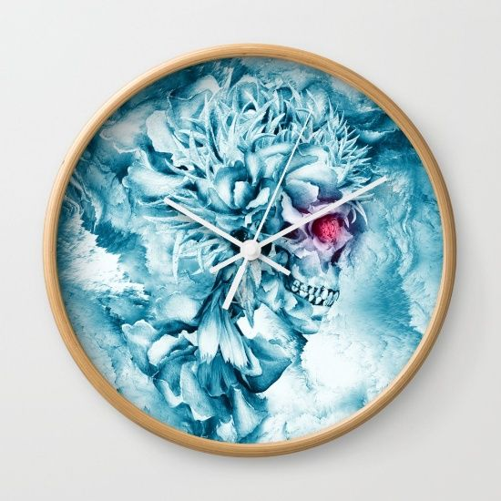 """Available in natural wood, black or white frames, our 10"""" diameter unique Wall Clocks feature a high-impact plexiglass crystal face and a backside hook for easy hanging. Choose black or white hands to match your wall clock frame and art design choice. Clock sits 1.75"""" deep and requires 1 AA battery (not included). #skull #art #digitalart #homedecor  #frozen #rizapeker"""