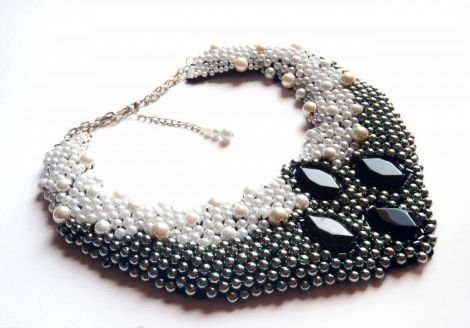 Black And White: Handmade Statement Necklace by Purple Nicole (Nicole Cea Mov)