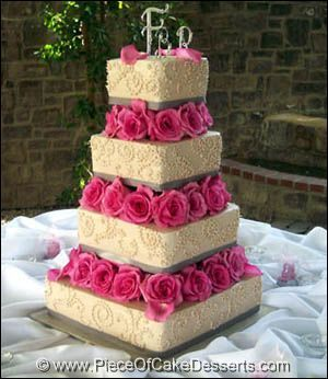 Pink & Silver square wedding cake