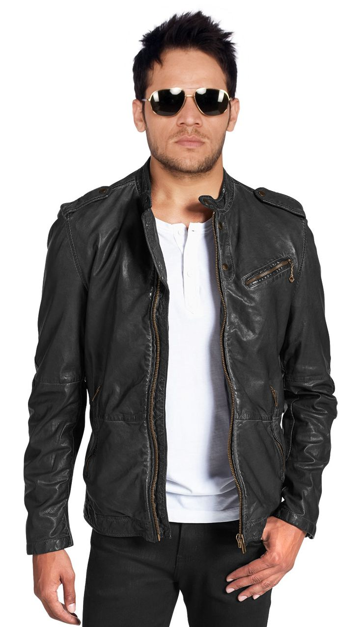 Find A Great Deal On Leatherfads For Mens Snap Tab Epaulettes Leather Biker Jacket This Leather Biker Jacket Gives You Fashionable Look