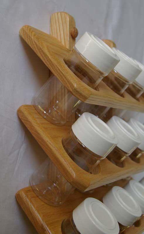 Wooden Spice Rack Oak 16 jar 4 shelves of 4 by TumbleweedWoodworks More