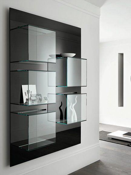 Wall-mounted #glass bookcase DAZIBAO by @Tonelli Design | #design EG+AV #interiors