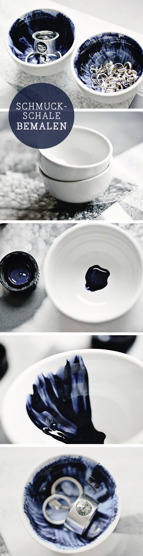 DIY-Tutorial für eine selbstgefärbte Schmuckschale im Shibori Stil / shibori styled jewellery bowl, diy tutorial via http://DaWanda.com
