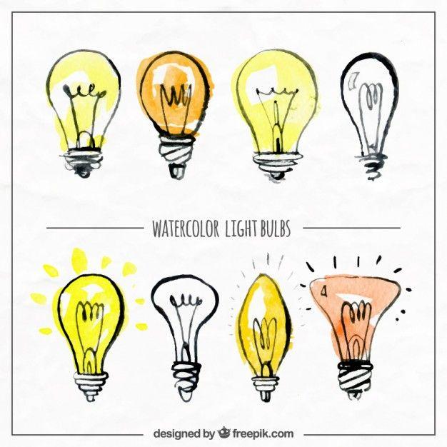 Watercolor hand drawn lightbulbs Free Vector
