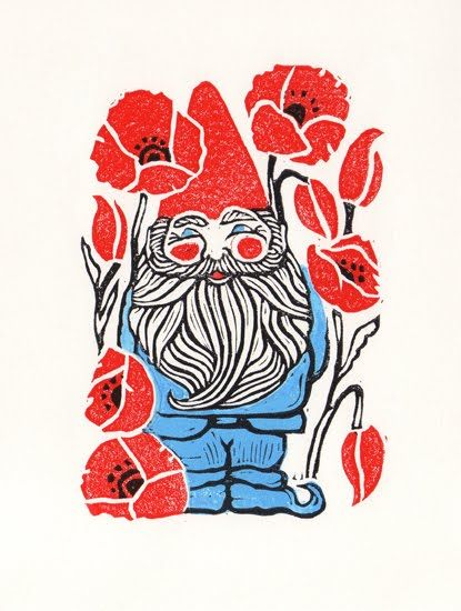 Gnome!!! I want this as a tattoo.... poppys too