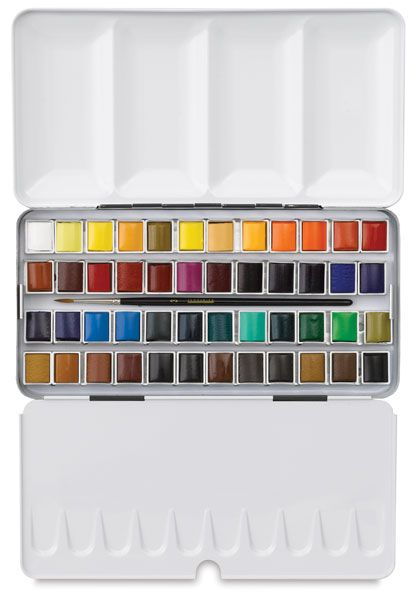 Sennelier French Artists' Watercolor Sets - Half Pan Metal Case, Set of 48