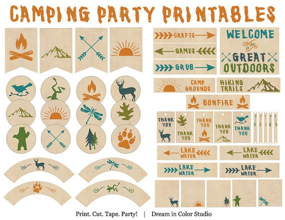 Great Outdoors Camping Party Printables - Nature, Forest, Woods, Hiking, Summer Camp