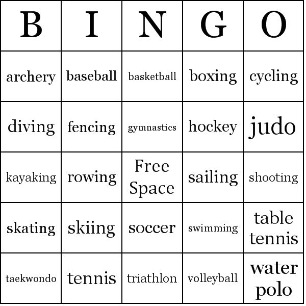 Olympic Sports | Olympic Sports Bingo Cards - Word List