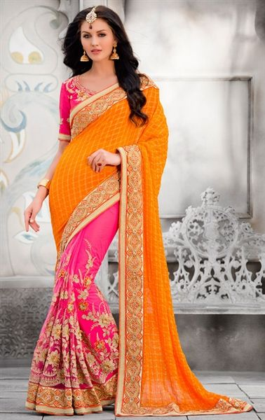 Exquisite Pink and Orange Wedding Saree