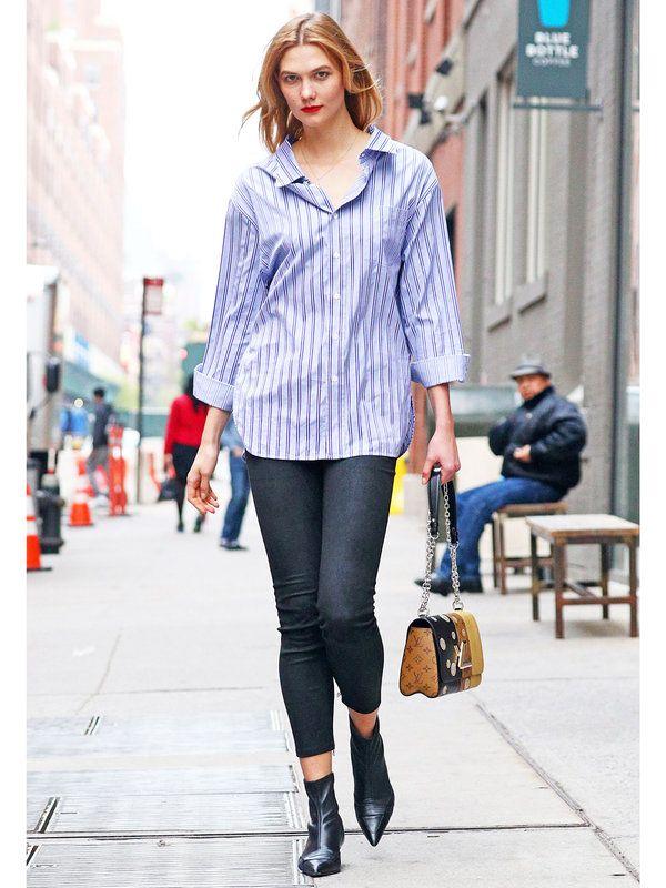 【ELLE】ビッグシャツ×スキニーの鉄板コンビにカーリーも夢中 エル・オンライン