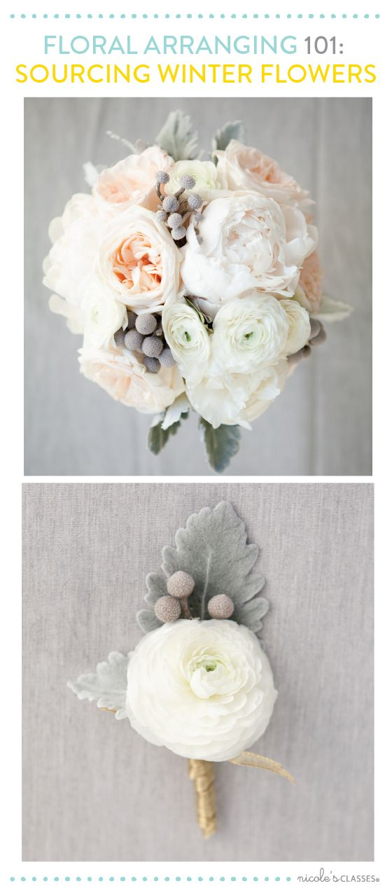 colour pallette: foamy white, grey green, blush... so soft renunculus, dusty miller, roses Ooo..really like this!