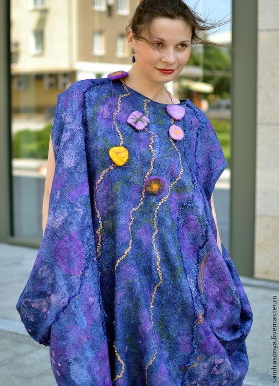 """Купить Женское валяное платье """"Туманность Ориона"""" - валяное платье, платье…"""