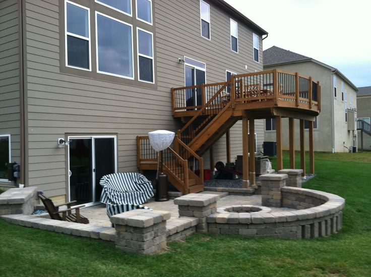Second story deck above a paver patio for Second story decks with stairs