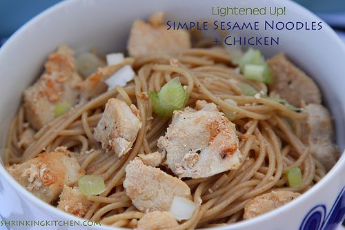 Wednesday: Lightened Up {Pioneer Woman} Simple Sesame Noodles + Chicken. Mmm! More comfort food, but made over. Not much is better than #pioneerwoman but when you can lighten up her recipes, you've got a winner!