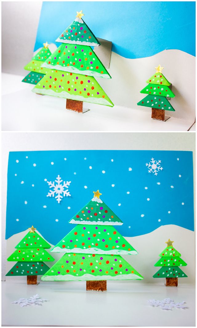 DIY Origami Christmas Tree Pop-Up Card. These are fun for both kids and adults to make as holiday cards!