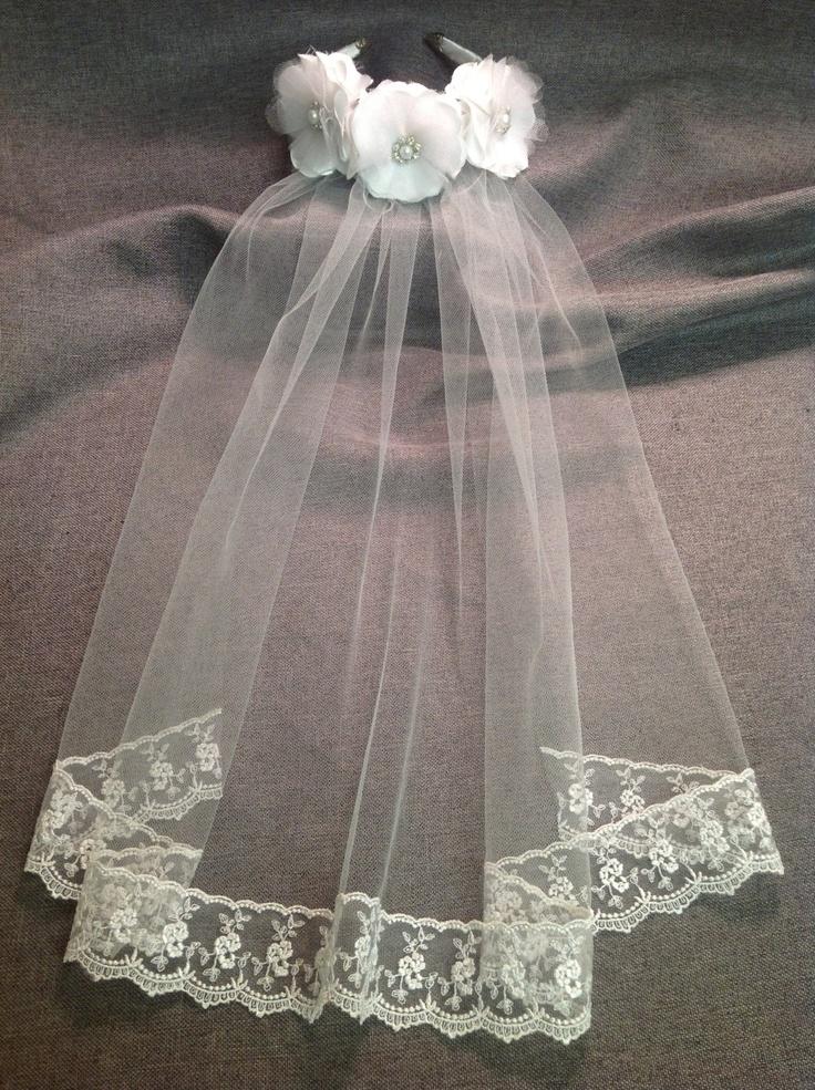 MADELINE Girls White First Communion Veil Headband. $45.00, via Etsy.
