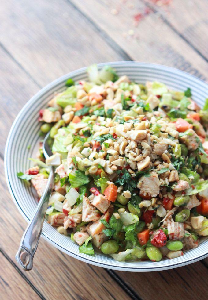 Chopped Thai Chicken Salad with Peanut-Chili Vinaigrette - just like Panera's Thai Chicken Salad but homemade and healthier | littlebroken.c...
