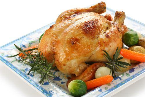 Kuře pečené na soli s rozmarýnem