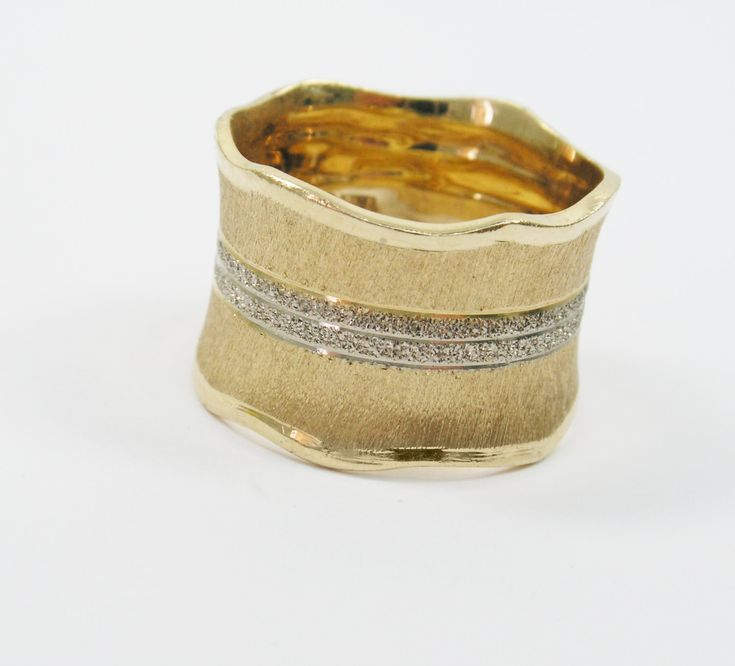 Yellow White Gold Romantic Wedding Wide Ring, Elegant Unique Jewelry Gift for Woman