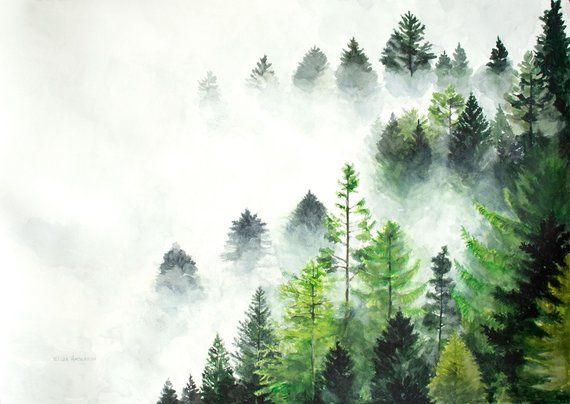 original watercolor painting fog watercolor forest watercolor large painting nature pai watercolor landscape nature paintings watercolor paintings for sale original watercolor painting fog