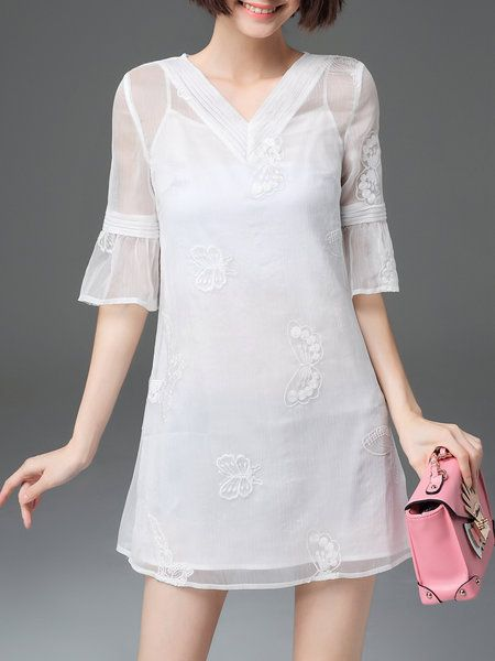 Shop Mini Dresses - White Frill Sleeve Embroidered Mini Dress online. Discover…