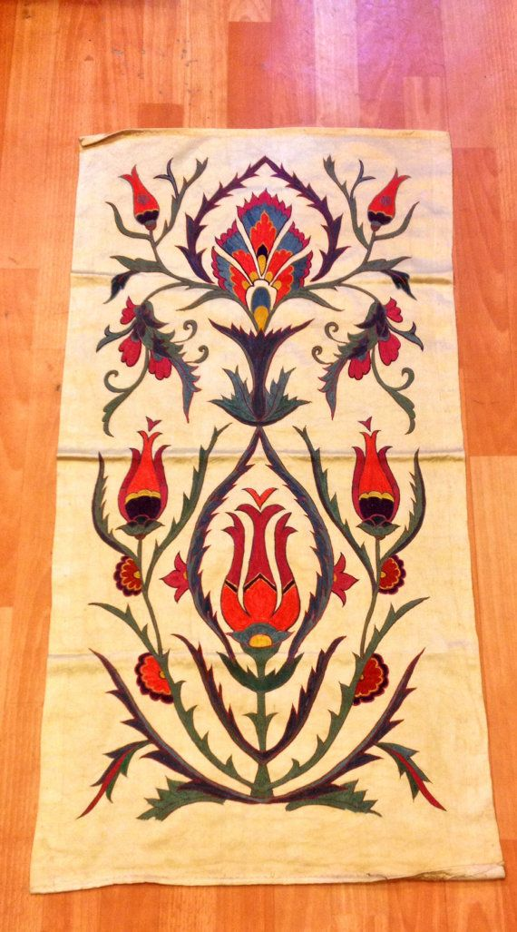 Silk on silk suzani table clothes uzbek suzani silk by akcaturkmen, $100.00
