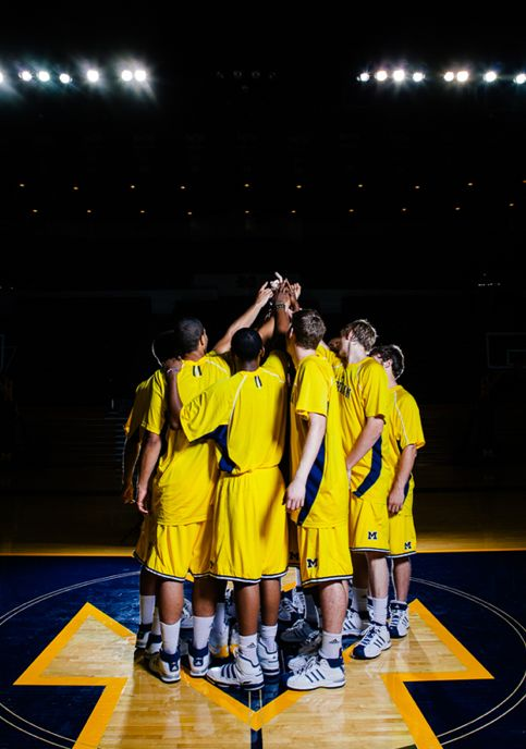 Photography of the University of Michigan Men's Basketball Team