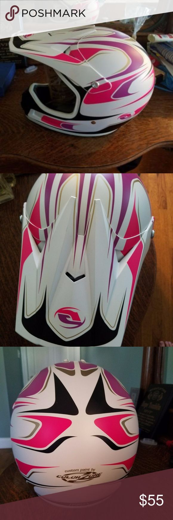 Answer Dirtbike Helmet - ATV Motorcycle Helmet NWT Brand new dirt bike or ATV helmet by Answer,  it is pink and white and is size small listed as 55-56cm. It has the price tag on the box at $105, but I'm going to sell it for much cheaper. Answer Other