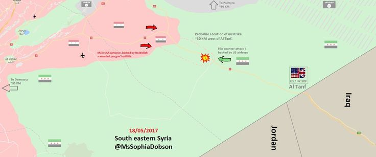 #Media #Oligarchs #Banks vs #union #occupy #BLM #SDF #Humanity  #Syria MAP : How the US airstrike on advancing pro -#Assad forces unfolded near the Iraq-Syria border. #ALTANF #SAA #FSA #ISIS   https://twitter.com/MsSophiaDobson/status/865312805003681793