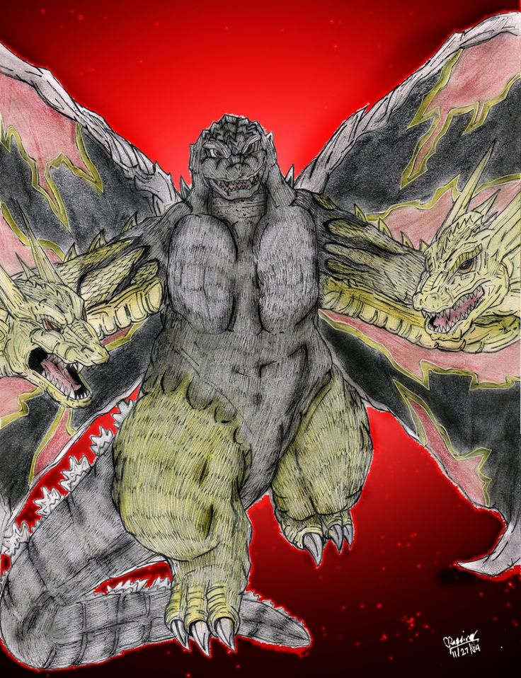 Another manga kaiju fan art and as a follow-up to my recent BioGhidorah piece.This one is one of the most bizarre and most powerful fusion BY FAR.   King Godzilla Height: 190 meters Weigh...