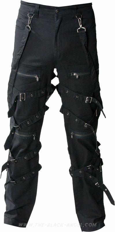 Gothic men's pants with removable bondage straps, by Queen of Darkness clothing.