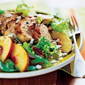 Grilled Chicken and Nectarine Salad — Jay Decker combines chicken, sweet nectarines, tangy goat cheese, and toasted pecans in a great entrée salad. Prep and cook time: about 25 minutes.