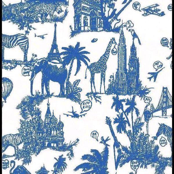 Papier peint Castelbajac motif Jouy bleu |The Socialite Family
