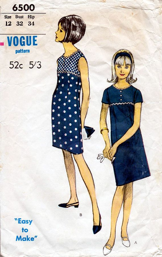 1960s Empire Waist Dress Pattern Vogue 6500 Vintage Sewing Pattern Cute Shift Dress with Rick Rack Trim Bust 32 Teens Petites
