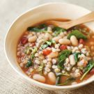 Try the Tuscan Farro Soup with White Beans, Tomatoes and Basil Recipe on williams-sonoma.com/