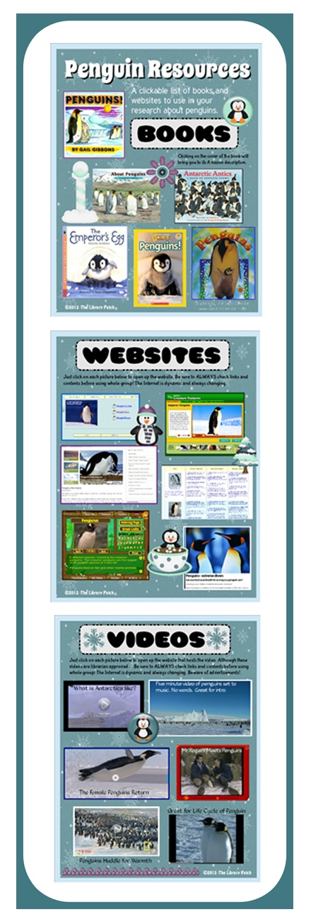 This FREE librarian-created download from The Library Patch includes nonfiction titles, kid-friendly websites, and videos that relate to all different aspects of the penguin. Each of the resources is clickable. Simply open your PDF file, click on the pix, and you'll be at a book description, a website, or a video! Happy researching :)