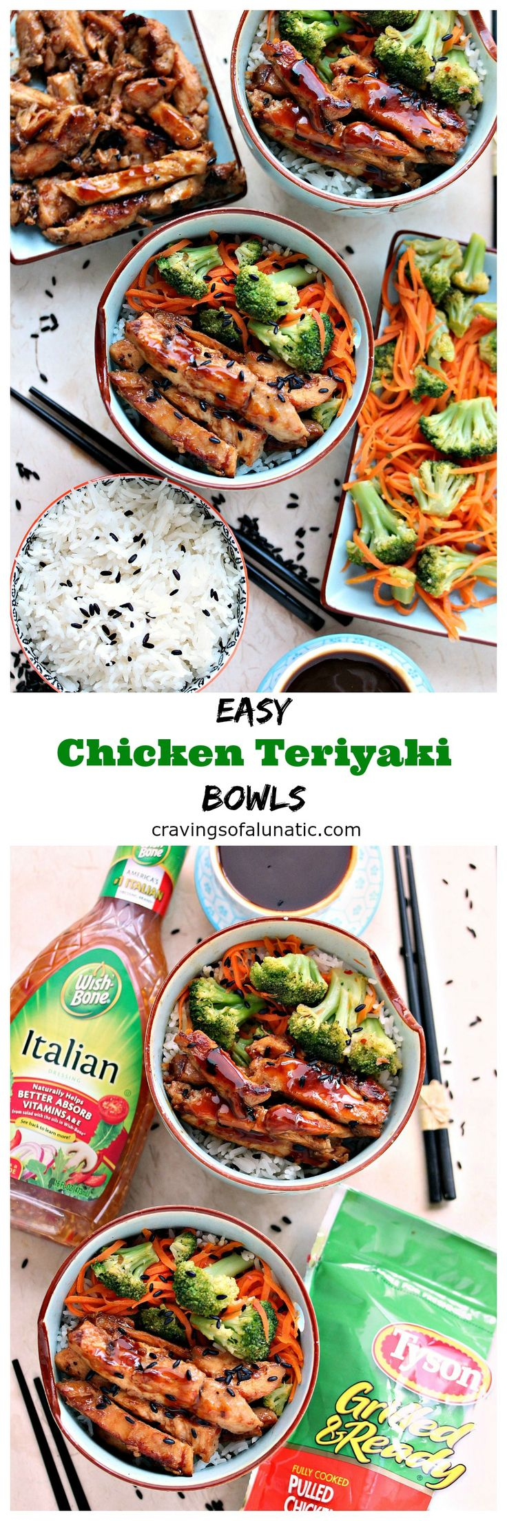 Easy Teriyaki Bowls from cravingsofalunatic.com- This recipe is incredibly quick and easy. It's the perfect way to get more vegetables in your diet without sacrificing taste and creativity. We serve ours over rice, but you can serve it over noodles, bean sprouts, or a fabulous salad. (@CravingsLunatic) #sponsored