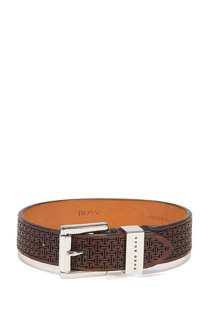 Leather Bracelet   Bert Dark Brown from BOSS for Men for $165.00 in the official HUGO BOSS Online Store free shipping