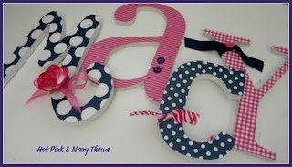 DWELLING: Wooden Nursery Letters - HOT PINK & NAVY BLUE!