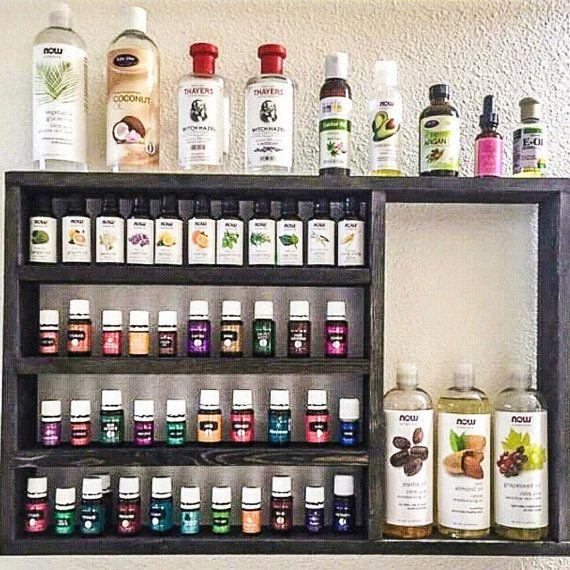 Oil shelf, Essential oil rack, nail polish rack, rustic decor, oil storage, wood shelf, hanging shelf, essential oil holder, home decor