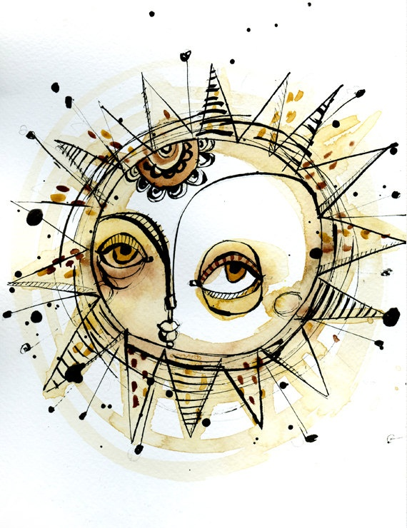 Sun is shining 02 (print of an original ink and watercolor illustration). €20.00, via Etsy.