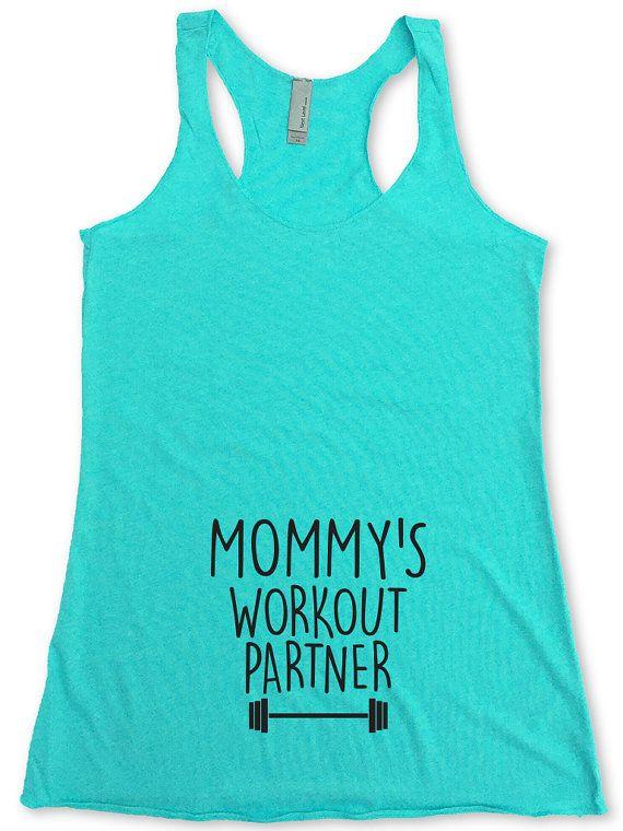 Mom's workout partner, workout tank for buddy-maternity / pregnancy …   – Cricut ideas